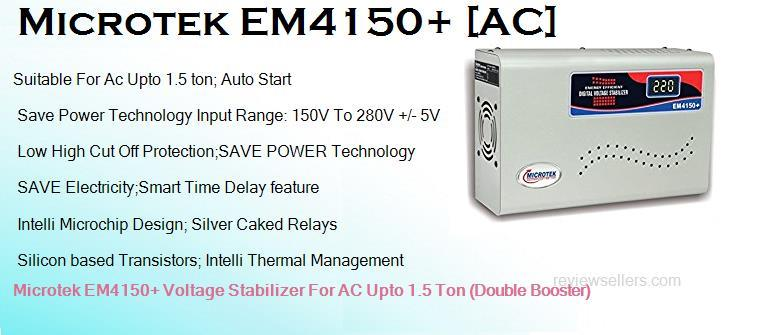 Microtek EM4150+ Best Double Booster AC Stabilizer for 1.5 ton AC