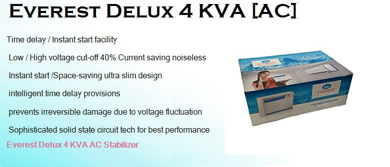 Everest Delux 4 KVA Best Low Cost Stabilizer for 1.5 ton AC