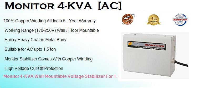 Monitor 4 KVA Best Monitor Wall Mounted AC Stabilizer for 1.5 ton AC