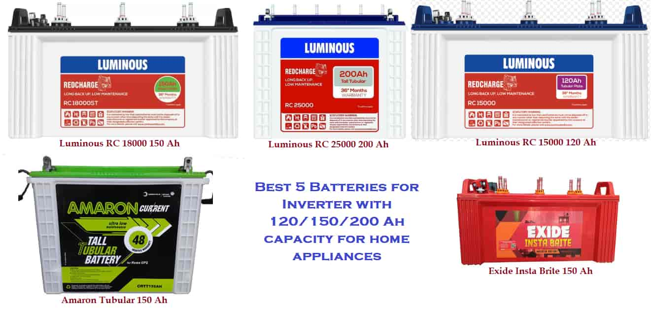 Best 5 Batteries for Inverterwith 120150200 Ah capacity for home appliances