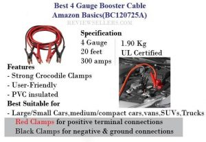 4 Gauge Booster Cable Amazon Basics
