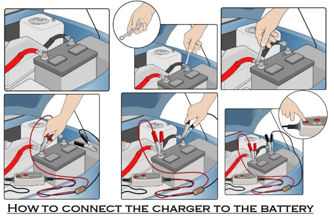 How to connect the charger to the battery