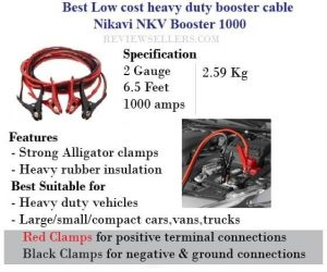 Low cost heavy duty booster cable Nikavi NKV booster 1000