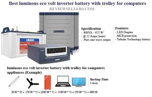 luminous eco volt inverter battery with trolley for computer