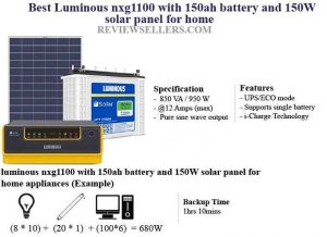 luminous nxg1100 with 150ah battery and 150W solar panel for home
