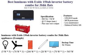 luminous with Exide 150ah inverter battery combo for 3bhk flats