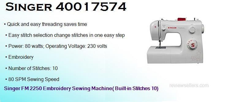 Singer FM 2250 Embroidery 22 cm 80 SPM Rectangle Free Arm Sewing Machine( Built-in Stitches 10)