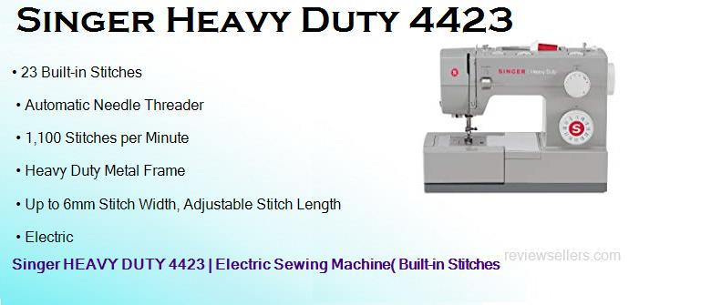 Singer HEAVY DUTY 4423 Electric 1100 SPM 22 cm Sewing Machine( Built-in Stitches 23)