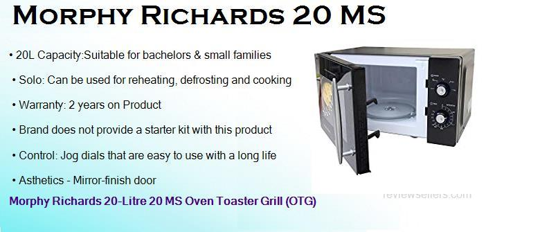 Morphy Richards 20 L Solo Microwave Oven (20 MS, Black)