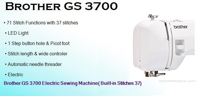 Brother GS 3700 Electric 19.304 cm 800 SPM Sewing Machine( Built-in Stitches 37)