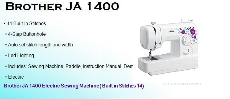 Brother JA 1400 Electric 39.116 cm 750 SPM 5 mm Drop-in Sewing Machine( Built-in Stitches 14)