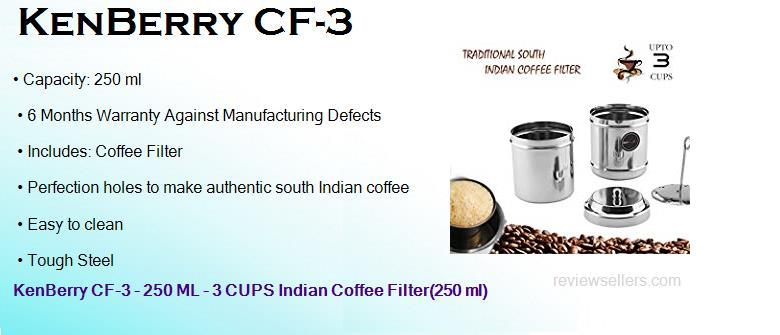 KenBerry CF-3 Coffee Filter 3-Cups (Silver)