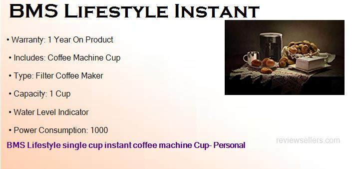 BMS Lifestyle Single Cup Instant Coffee Machine Cup- 1 Coffee Maker
