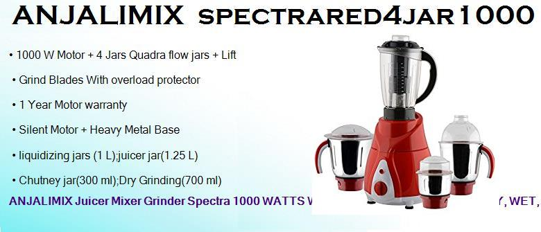 anjalimix spectrared4jar1000 watts heavy duty dry wet juicer mixer grinder with 4 jars