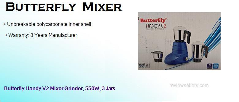 butterfly 550 watts heavy duty dry wet mixer grinder with 3 jars