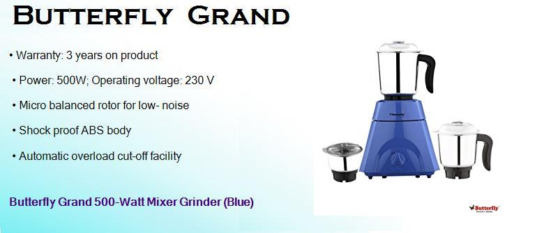 butterfly grand 500 watts mixer grinder with 3 jars