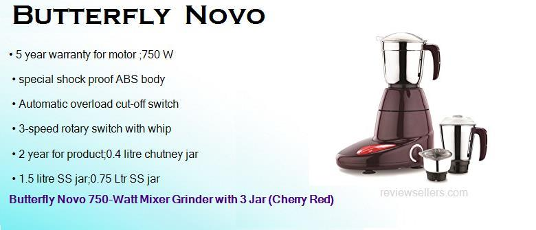 butterfly novo 750 watts mixer grinder with 3 jars