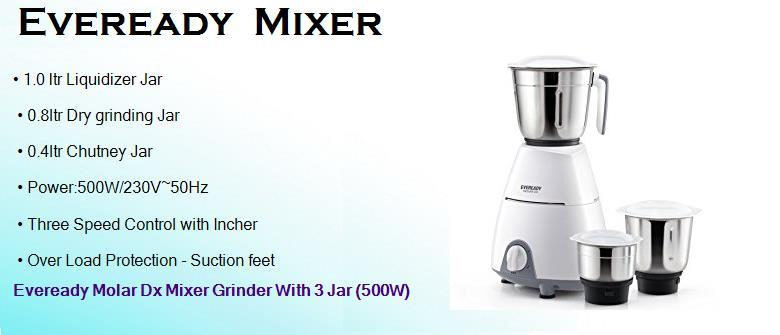 eveready 500 watts dry mixer grinder with 3 jars