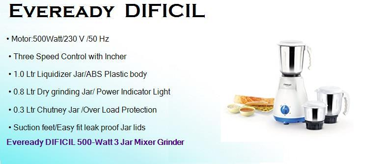 eveready dificil 500 watts dry mixer grinder with 3 jars