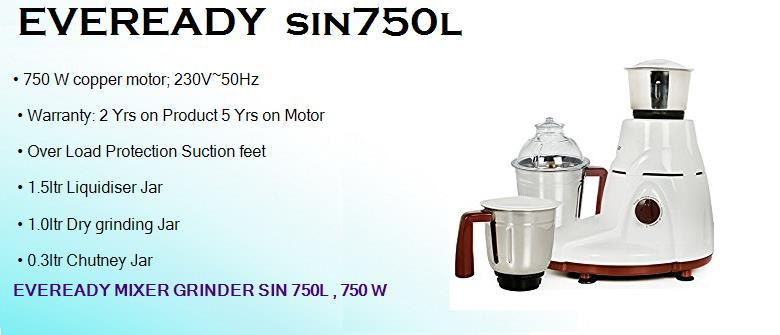 eveready sin750l 750 watts dry mixer grinder with 3 jars