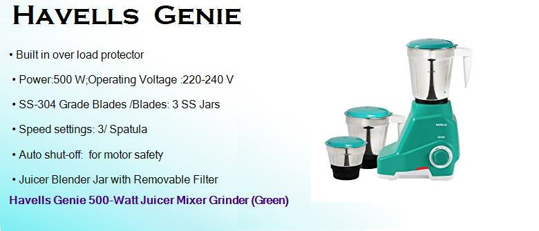 havells genie 500 watts heavy duty dry wet juicer mixer grinder with 3 jars and hand blender