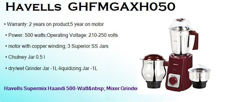 havells ghfmgaxh050 500 watts dry wet mixer grinder with 3 jars