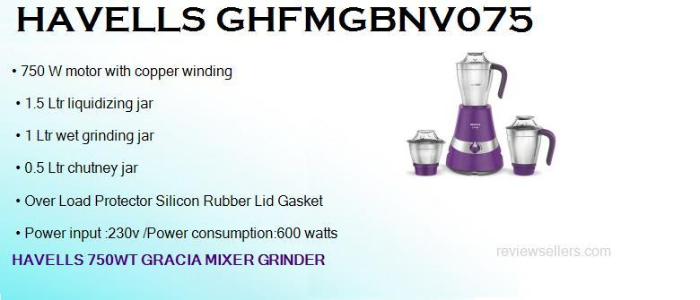 havells ghfmgbnv075 750 watts dry wet mixer grinder with 3 jars