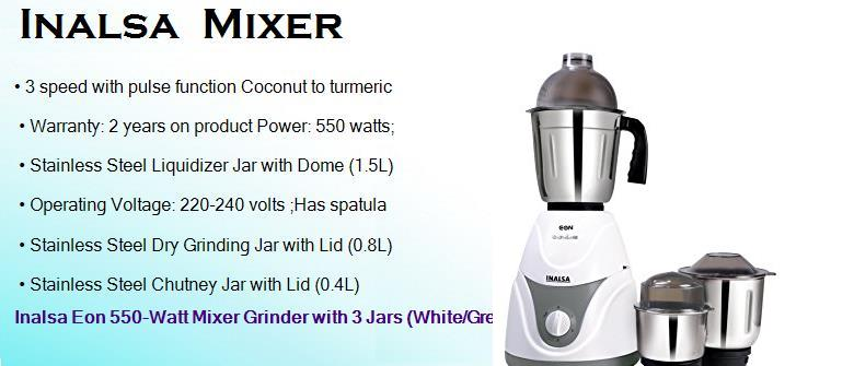 inalsa 550 watts dry wet mixer grinder with 3 jars