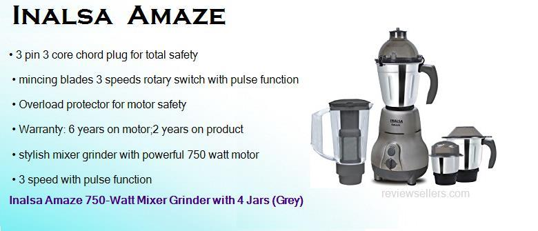 inalsa amaze 750 watt mixer grinder with 4 jars grey