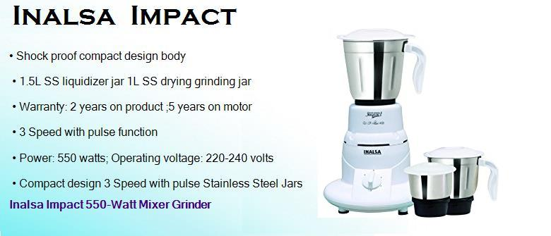 inalsa impact 550 watts dry mixer grinder with 3 jars