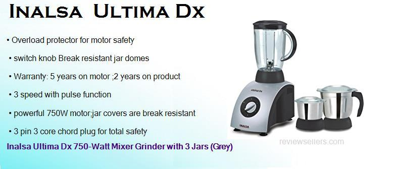 inalsa ultima dx 750 watts mixer grinder with 3 jars