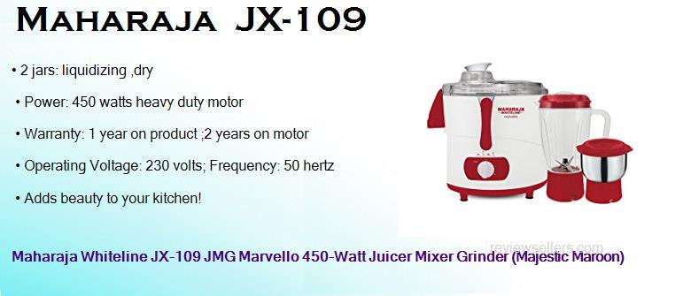 maharaja jx 109 450 watts heavy duty dry wet juicer mixer grinder with 2 jars