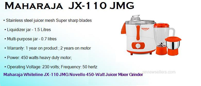 maharaja jx 110 jmg 450 watts heavy duty juicer mixer grinder with 2 jars