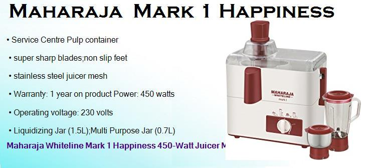 maharaja mark 1 happiness 450 watts juicer mixer grinder with 2 jars