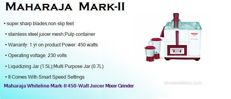 maharaja mark ii 450 watts juicer mixer grinder with 2 jars