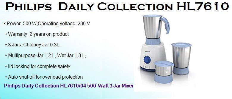 philips daily collection hl7610 500 watts wet mixer grinder with 3 jars