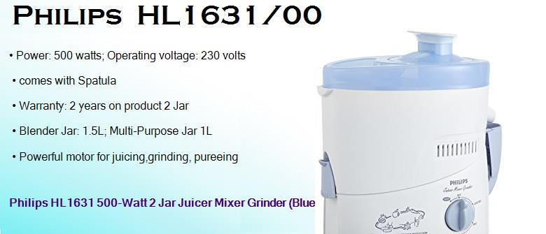 philips hl1631 00 500 watts juicer mixer grinder with 2 jars and hand blender