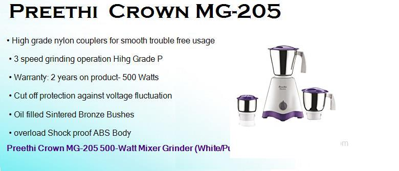 preethi crown mg 205 500 watts mixer grinder with 3 jars