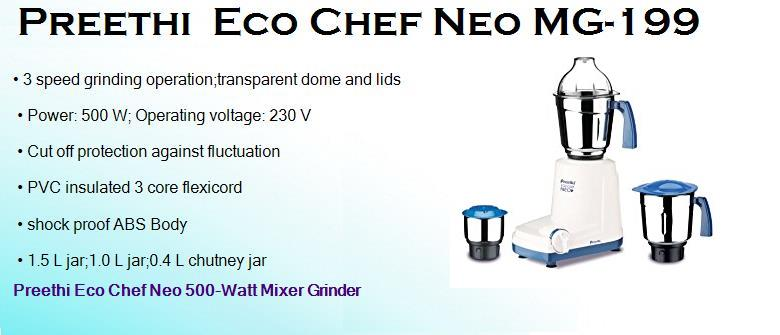 preethi eco chef neo mg 199 500 watts mixer grinder with 3 jars