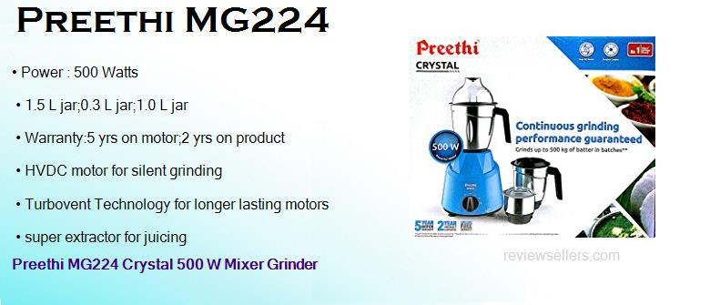 preethi mg224 500 watts mixer grinder with 3 jars