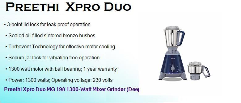 preethi xpro duo 1300 watts mixer grinder with 2 jars